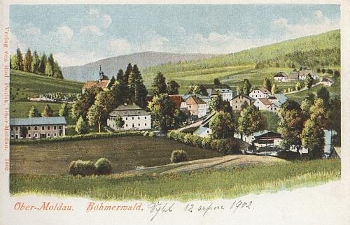 Horní Vltavice na pohlednici z doby, kdy se tam narodil