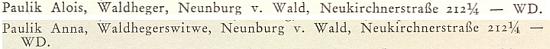 O tom, že Schwarzenbergové na své zaměstnance nezapomínali, svědčí i tyto dva zápisy o něm a jeho vdově v rodových ročenkách