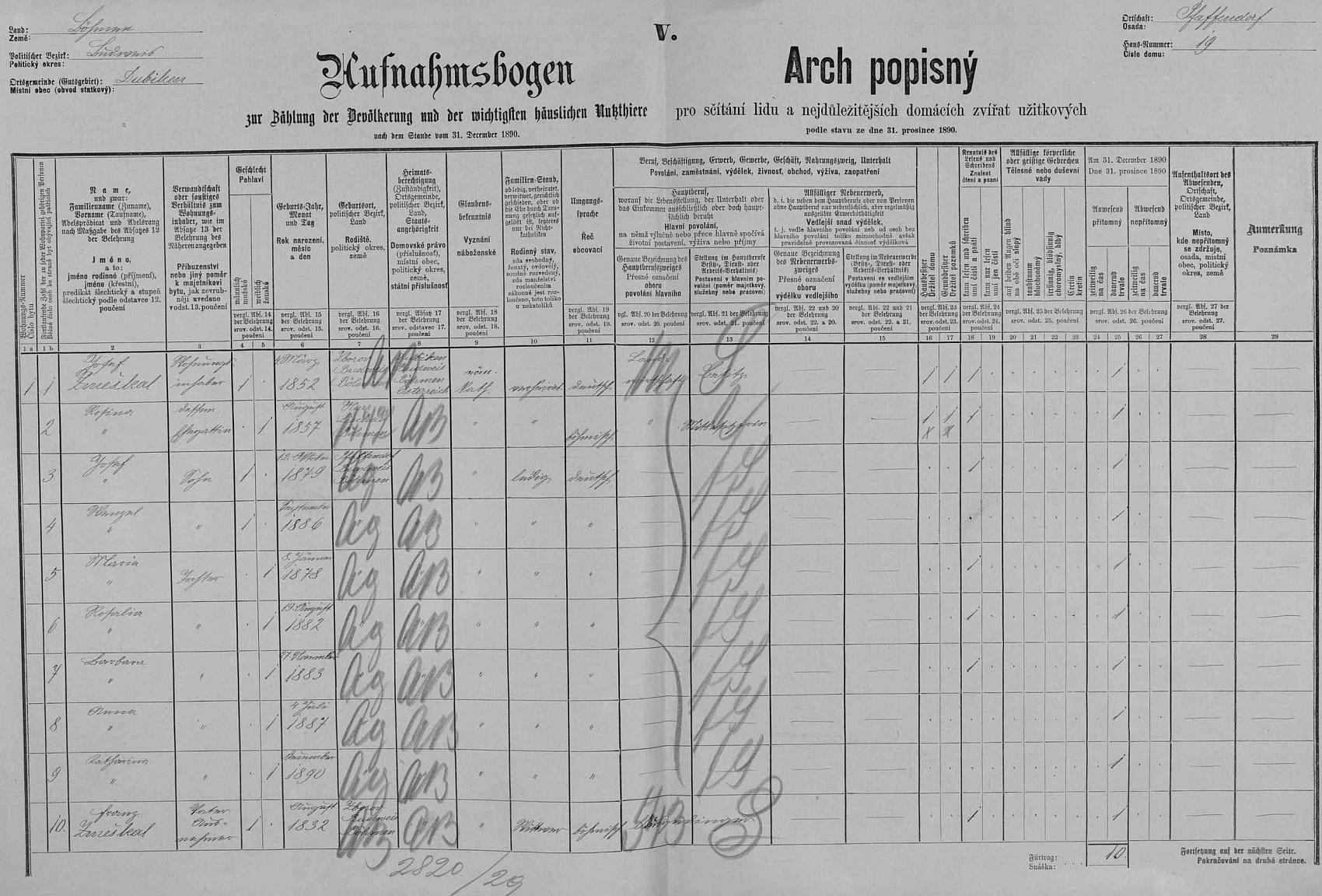 Arch sčítání lidu z roku 1890 pro dům čp. 19 v Hlincové Hoře s rodinou Zmeškalovou a tehdy jedenáctiletým Josefem