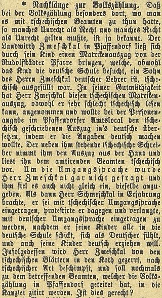 Budějovický německý list přinesl v roce 1901 zprávu o tom, jak se otec Zmeškal (Zmeschkal) ohradil proti českému zápisu v matrice, protože secítíjakoNěmec