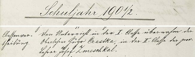 Záznam hornovltavické školní kroniky o nástupu Josefa Zmeschkala