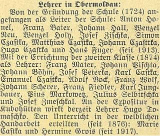 V obsáhlém textu v časopise Waldheimat roku 1924 ke 200 letům farnosti Horní Vltavice byli mimo jiné vyjmenováni izde působící učitelé