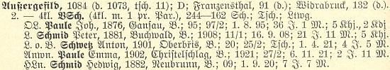 Tady figuruje v soupise učitelstva německých obecných škol v Čechách jako řídící učitel té kvildské