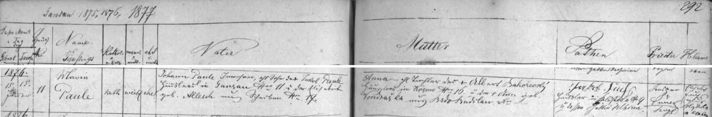 Záznam o jeho narození ve vimperské křestní matrice