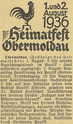 """Zpráva o """"domovské slavnosti"""" v Horní Vltavici s projevem Rudolfa Kubitscheka, veselohrou Ernestine Tutzingerové s doprovodem hudby Herberta Wilhelma, to vše v Paulikově hostinci Rudolfova otce, přijímajícího podle poslední věty hosty jako """"Kaufmann Paulik"""""""