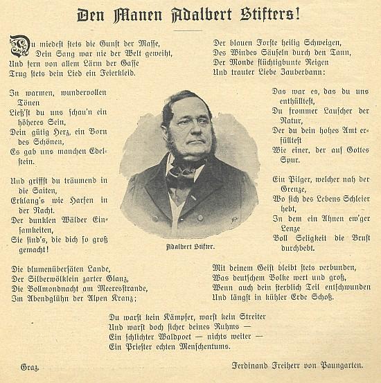 Podoba originálu jeho básně na prvé straně jednoho z čísel českobudějovického měsíčníku Waldheimat