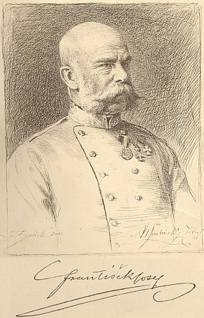 Max Švabinský je autorem tohoto portrétu císaře Františka Josefa s vlastnoručním českým podpisem mocnářovým podle malby Františka Ženíška