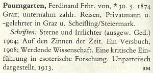 """Německý literární lexikon ho uvádí pod šlechtickým titulem Freiherr """"von Paumgarten"""" a nedozvíme se odtud nic o datu a místě jeho úmrtí"""