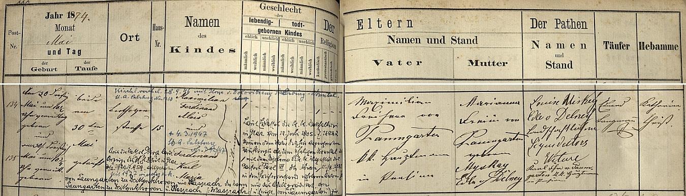 Záznam křestní matriky při faře sv. Linharta ve Štýrském Hradci o jeho narození, vystoupení z církve (1920) a návratu do ní (1927), jakož i o svatbě sIlonou von Dolovitzeny dne 28. září 1946 v Salzburgu půl roku před jeho smrtí tamtéž 4. března roku 1947