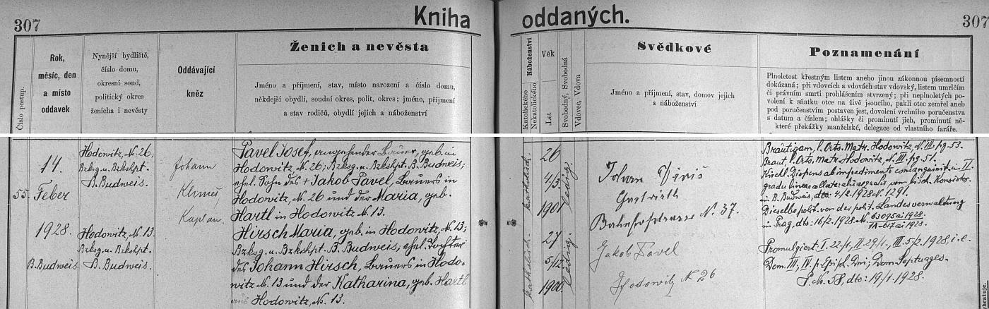 Záznam o svatbě rodičů v oddací matrice při farním kostele sv.Mikuláše v Českých Budějovicích