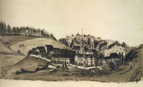Tužková kresba Karla Grubera zachytila klášter Vyšší Brod právě v roce 1866, kdy byl Raphael Pavel vysvěcen na kněze