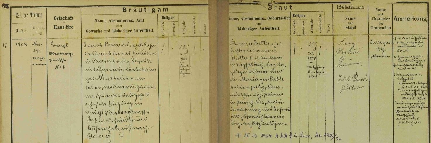 Záznam o jeho svatbě v knize oddaných Aigenu u Salzburgu