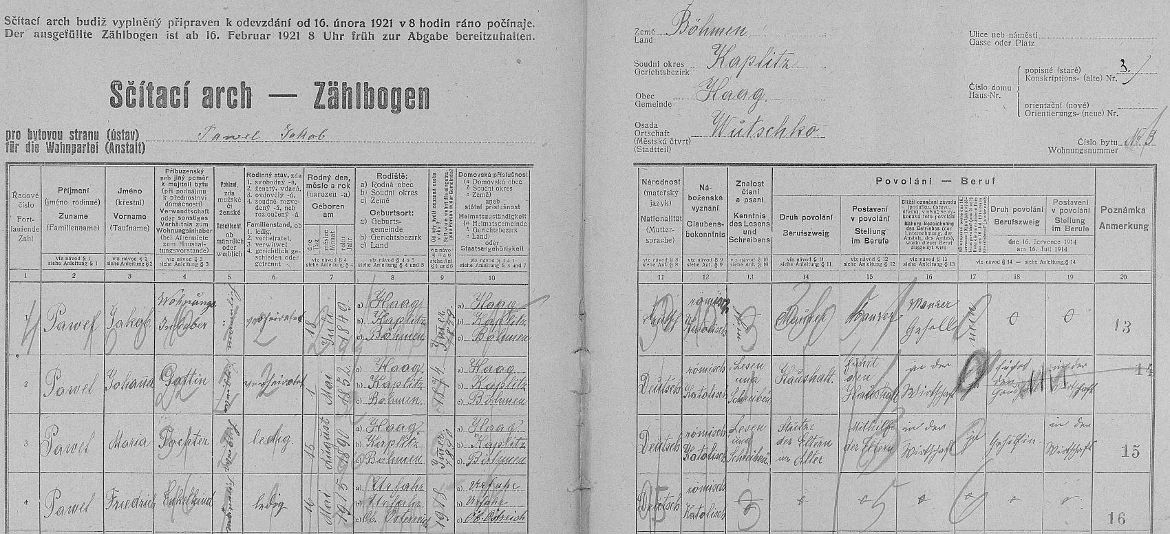 Arch sčítání lidu z roku 1921 zachycuje rodinu Pawelovu už bez něho v bočkovském stavení čp. 3 (viz i Johann Waldinger)