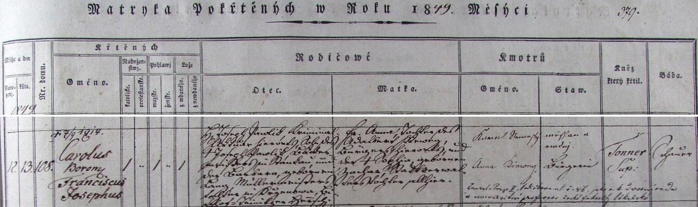 Záznam o jeho narození a křtu v klatovské křestní matrice s přípisem o datu úmrtí