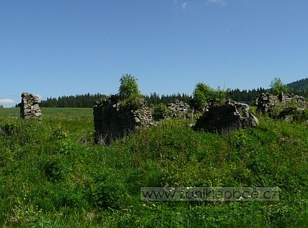 Ruiny stavení v někdejší Nové Vísce