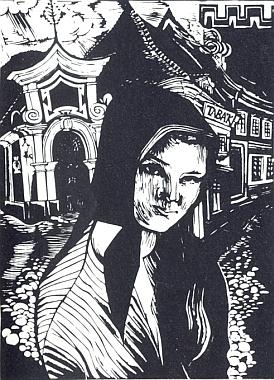"""""""Děvče z Prachatic"""" (1924), dřevoryt Conrada Felixmüllera"""