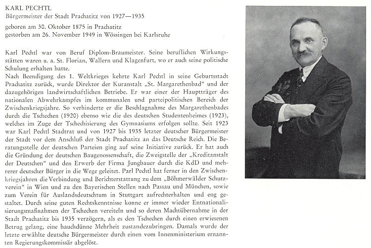 Životopis a podobenka jeho otce, německého starosty Prachatic v letech 1927-1935