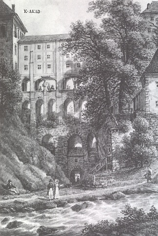 Plášťový most v Českém Krumlově na kresbě Ferdinanda Runka z počátku 19. století...