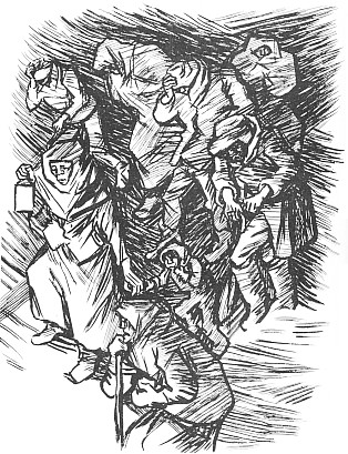 Dřevoryt Josefa Frutha Na půlnoční