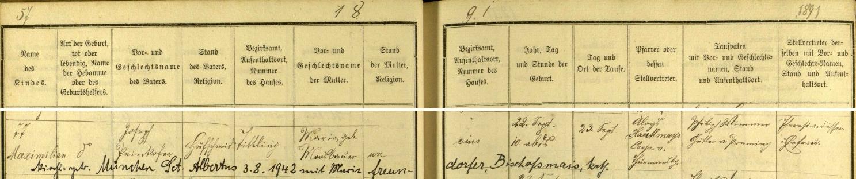 Záznam o jeho narození v křestní matrice dolnobavorské farní obce Tittling s přípisem o svatbě v roce 1942