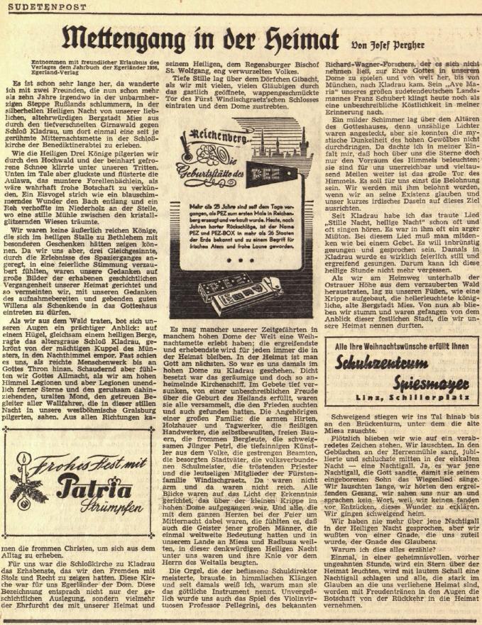 Jeho vánoční vzpomínka v prvním ročníku krajanského listu Sudetenpost
