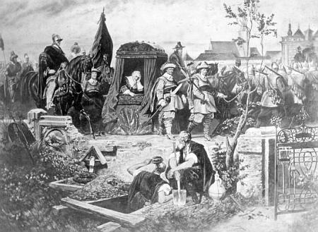 Valdštejnův příjezd do Chebu v únoru roku 1634 na reprodukci olejomalby Franze Schilhabla (1824-1902)