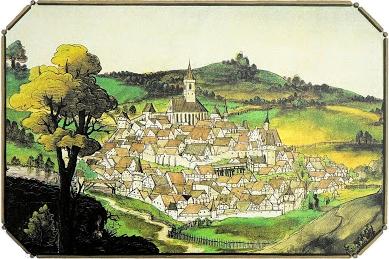 Nejstarší vyobrazení města Stříbro z roku 1536, které v roce 1995 objevila v univerzitní knihovně bavorského města Würzburg     hamburská badatelka Angelika Marschová, v novinové kopii a v barevném výřezu