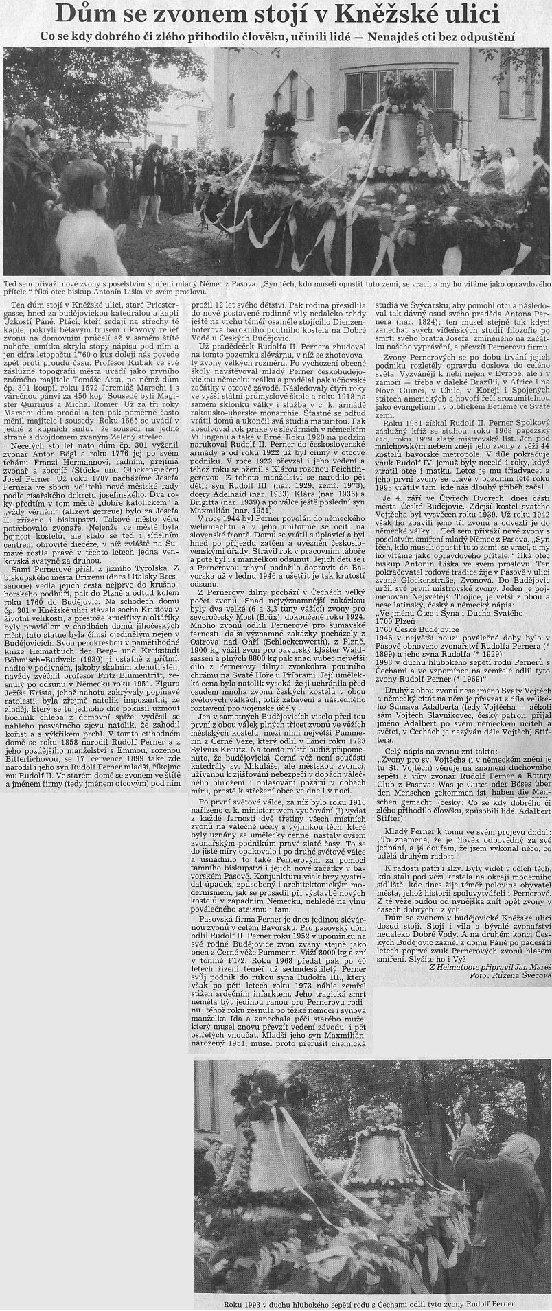Text ke snímku Růženy Švecové ze svěcení Pernerových zvonů ve Čtyřech Dvorech mluví citací prolovu biskupa Antonína Lišky za vše