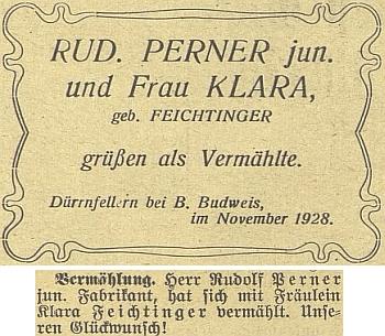 Oznámení Rudolfa (II.) Pernera o jeho druhé svatbě roku 1928 na Dobré Vodě u Českých Budějovic (i Suché vrbné, odkud je text poslán, bylo tehdy dosud samostatnou obcí, přifařenou k Dobré Vodě)