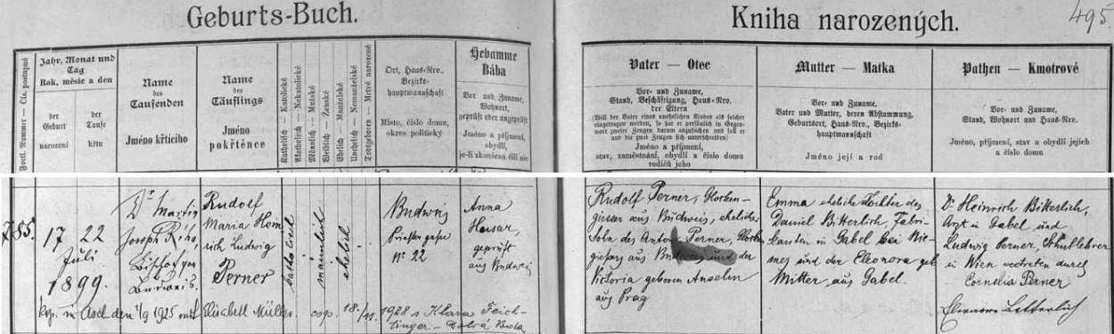 Záznam o narození a křtu Rudolfa (II.) Pernera v českobudějovické matrice s pozdějším přípisem a jeho prvé svatbě vAši