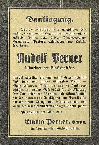 """Parte a poděkování za projevy soustrasti k úmrtí """"starého mistra"""" Pernera v roce 1933"""