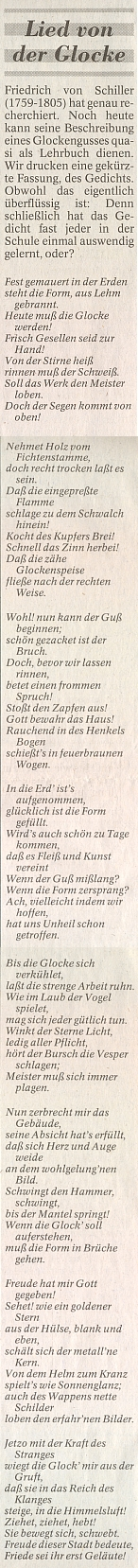 Schillerova Píseň o zvonu provázelavPassauer Neue Presse článek k50.jubileu firmy