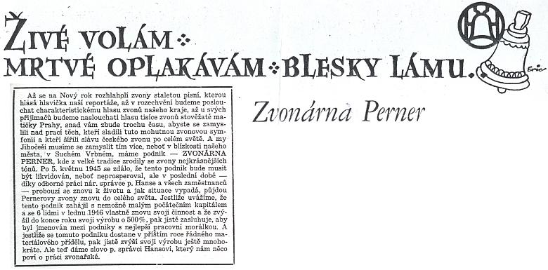 Záhlaví a úvod článku o Zvonárně Perner v českobudějovickém listě Československé strany lidové z 1. ledna roku 1947