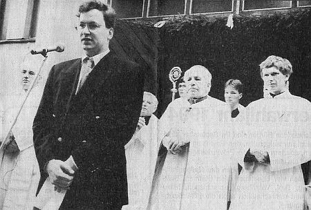 Při proslovu ve Čtyřech Dvorech (městská část Českých Budějovic) 4. září roku 1993