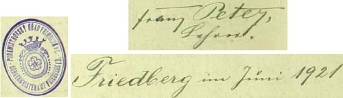 Podpis u jeho zápisu ve frymburské obecní kronice