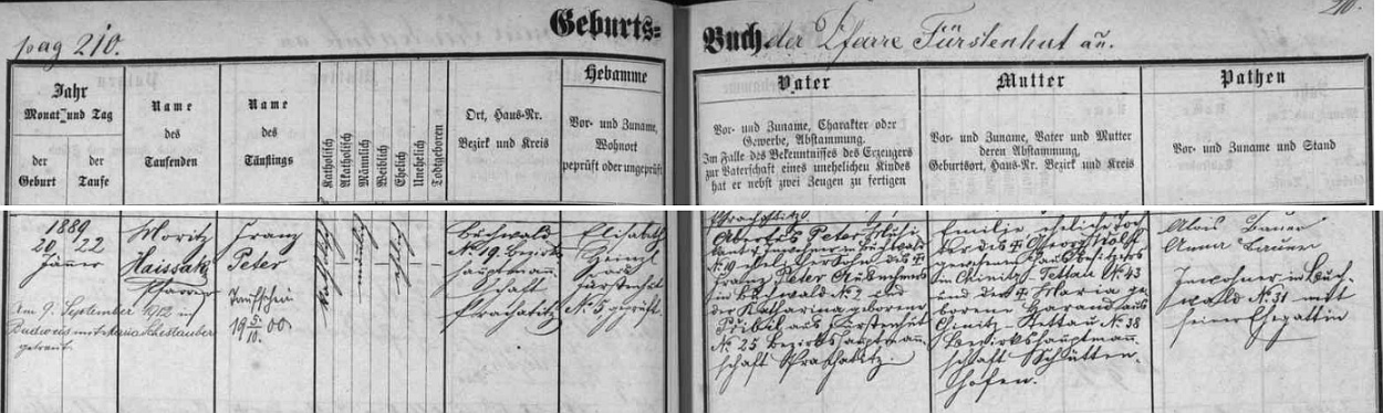 Záznam o jeho narození na Bučině v lednu roku 1889 s přípisem o Peterově českobudějovické svatbě 9. září 1912 sMarií Schestauberovou