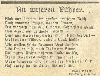 """Dosti hanebná jeho báseň """"Našemu Vůdci"""", počínající slovy:     """"Jsme nyní doma ve velké německé Říši..."""""""