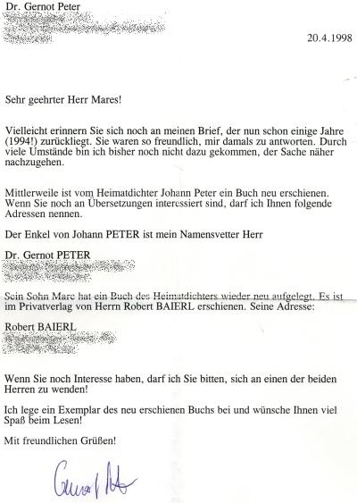 Další dopis od něj