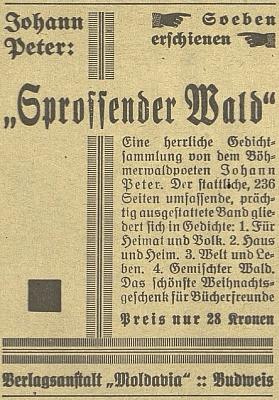 Inzerát (1929) na jeho knihu básní