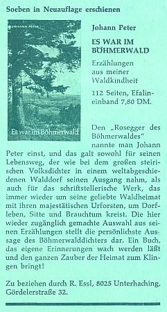 Inzerát (1969) na nové vydání jeho povídek