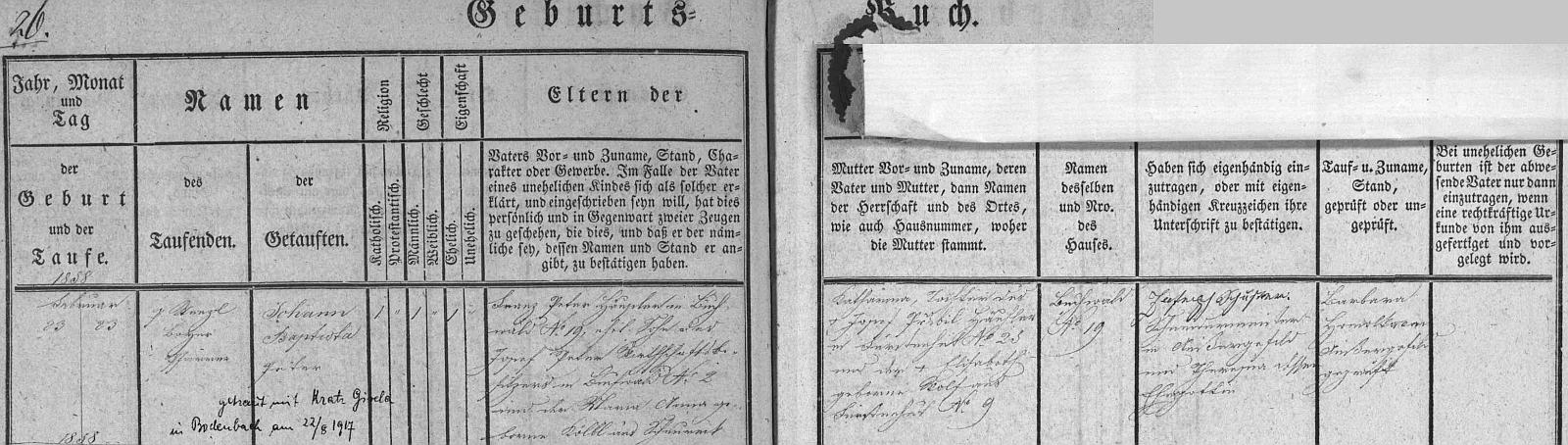 Záznam z farní matriky v Knížecích Pláních uvádí datum narození i křtu (téhož dne) chlapce, který dostal jméno Johann Baptista Peter, jehož matka byla rozená Přibilová z Knížecích Plání a který se v srpnu 1917 oženil v Podmoklech sGiselou Kratzovou