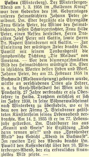 """Na pasovském slavnostním večeru v březnu 1958 ke 100. výročí jeho narození, pořádaném vimperskými krajany, jehož se účastnila jeho tehdy ještě žijící vdova Gisela Peterová, dále jeho neteř Hilde Peterová, jakož iDr.Rupert Steinbrener s chotí, zazněla úvodem Smetanova """"Vltava"""""""