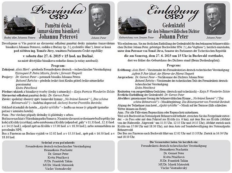 Pozvánka na odhalení (již druhé) pamětní desky v Bučině 27. června roku 2015 (Peterovy básně i v českém přetlumočení tu recitovala Katja Patricia Wunderlin-Talián)...