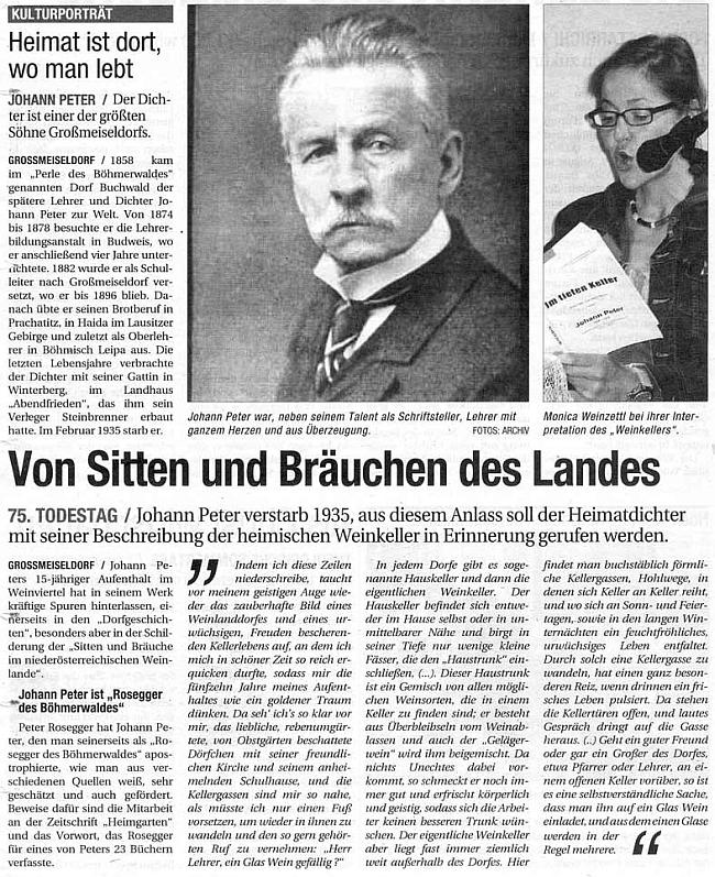 Článek v rakouském tisku k 75. výročí jeho úmrtí obsáhle cituje slova předmluvy Petera Roseggera k jedné z Peterových knih
