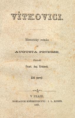Titulní list (1867) českého překladu jeho historického románu