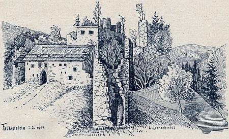 Zříceniny hradu Falkenštejna při řece Ranna na kresbě z doku 1908, signované jménem L. Derschmidt