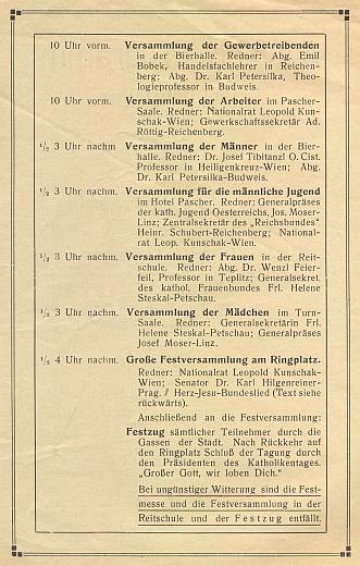 Obálka a část programu sněmování německých katolíků vNových Hradech roku 1922, kde byl jením z řečníků