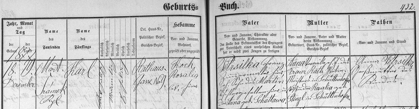 Záznam z českobudějovické matriky, kde jsou dítě, jeho otec i babička psáni s příjmením Petrsilka