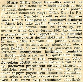 Český nekrolog v Jihočeské jednotě