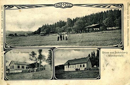 Škola v Krásné Hoře vpravo dole na staré pohlednici
